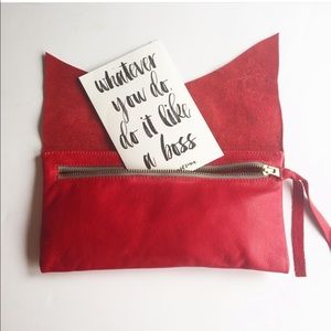 [Molly G] Red Leather Clutch